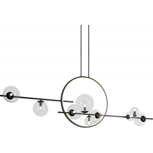 Designerska Lampa wisząca szklane kule Orion Double 145 czarna Step Into Design do jadalni
