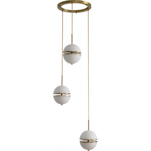Designerska Lampa wisząca szklana potrójna Sfera III biało-złota Step Into Design do jadalni