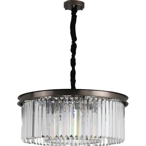 Designerska Lampa wisząca kryształowa Sparkle Round 60 antracytowa Step Into Design do jadalni