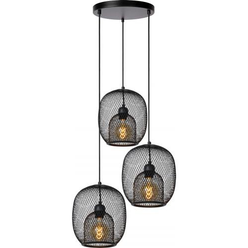 Lampa wisząca ażurowa potrójna Jerrel 51 czarna Lucide do jadalni i salonu