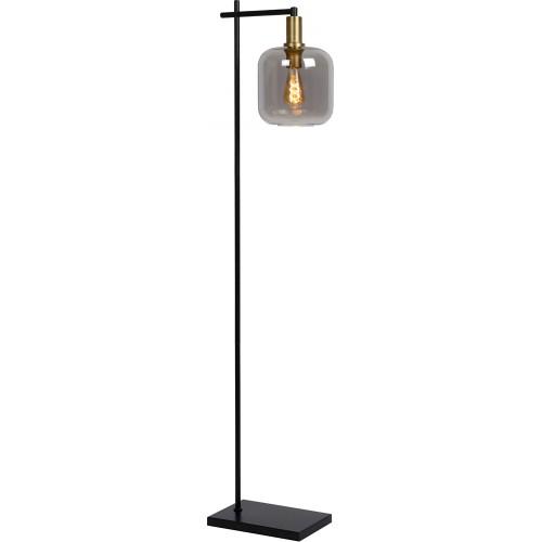 Designerska Lampa podłogowa ze szklanym kloszem Joanet szkło dymione/czarny Lucide do czytania w salonie