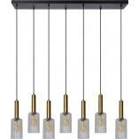 Designerska Lampa wisząca szklana na listwie Coralie 132 przezroczysto-czarna Lucide do salonu