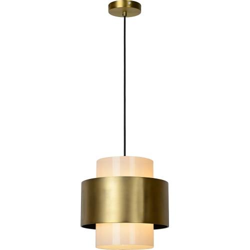 Designerska Lampa wisząca szklana glamour Firmin 30 opal/mosiądz Lucide do salonu