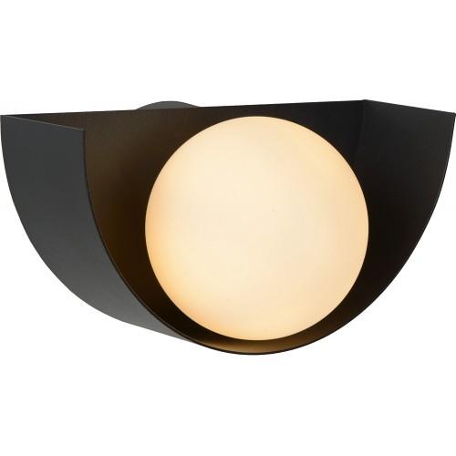 Designerski Kinkiet półokrągły ze szklaną kulą Benni opal/czarny Lucide do sypialni i przedpokoju