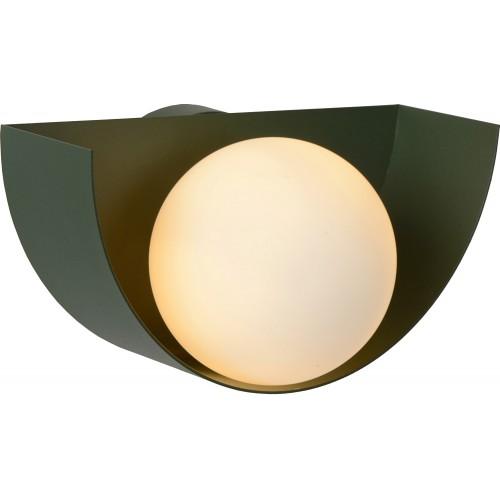 Designerski Kinkiet półokrągły ze szklaną kulą Benni opal/zielony Lucide do sypialni i przedpokoju