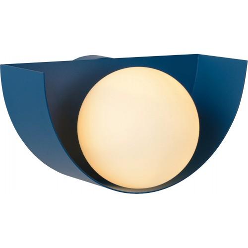 Designerski Kinkiet półokrągły ze szklaną kulą Benni opal/niebieski Lucide do sypialni i przedpokoju