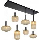 Designerska Lampa wisząca szklana 7 punktowa na listwie Maloto bursztynowo/czarna Lucide do salonu