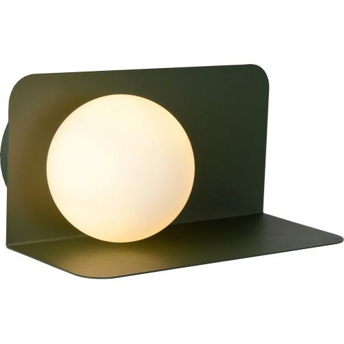 Designerski Kinkiet szklana kula z półką Bonni opal/zielony Lucide do sypialni i przedpokoju