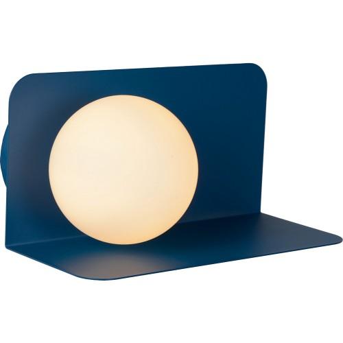 Designerski Kinkiet szklana kula z półką Bonni opal/niebieski Lucide do sypialni i przedpokoju