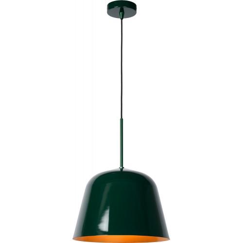 Designerska Lampa wisząca metalowa Misha 31 zielony połysk Lucide do salonu