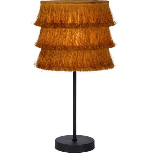 Lampa stołowa z frędzlami boho Togo żółta Lucide na stolik nocny