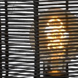 Designerska Lampa podłogowa rattanowa boho Hermine czarna Lucide do salonu