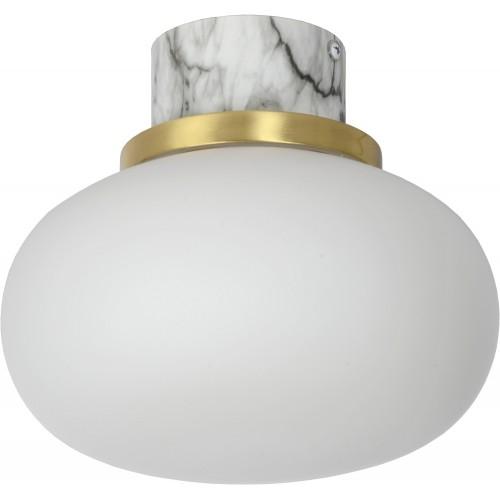 Stylowy Plafon szklany łazienkowy Lorena 23 opal/biały marmur Lucide