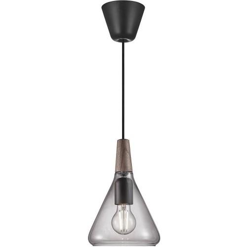 Lampa wisząca szklana z drewnem Nori...