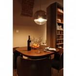 Designerska Lampa wisząca szklana kula MBS 35 Srebrna do salonu i recepcji.