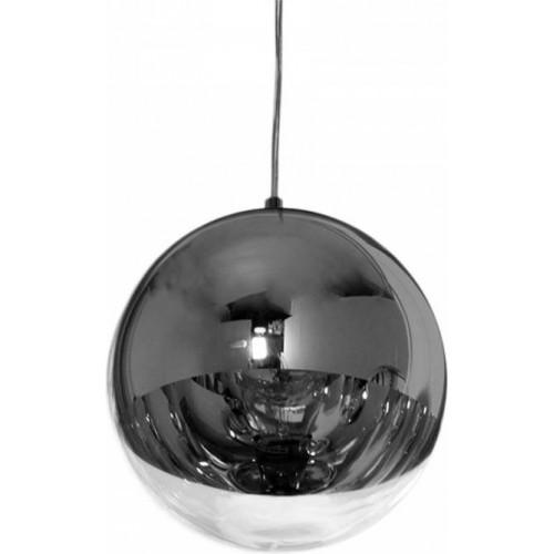 Designerska Lampa wisząca szklana kula MBS 40 Srebrna do salonu i recepcji.