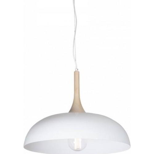 Lampa skandynawska wisząca Metalwood 50 Biała do sypialni i salonu.