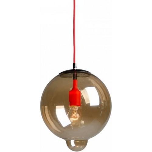 Designerska Lampa wisząca szklana kula Sila 27 Bursztynowa do salonu i recepcji.