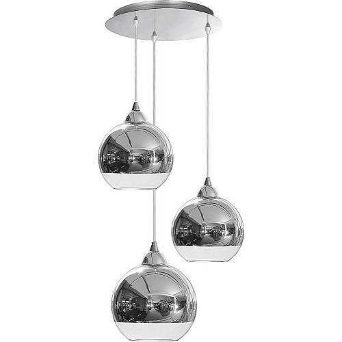 Lampa wisząca szklane kule nowoczesne Globe III Chrom Nowodvorski do kuchni i jadalni.