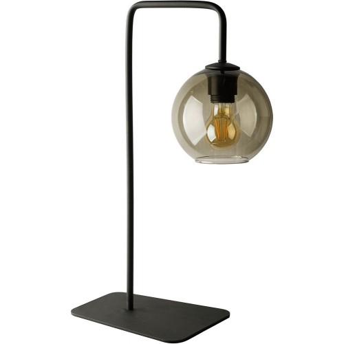 Industrialna Lampa szklana stołowa kula Monaco I Dymiony/Czarny Nowodvorski do sypialni i salonu.