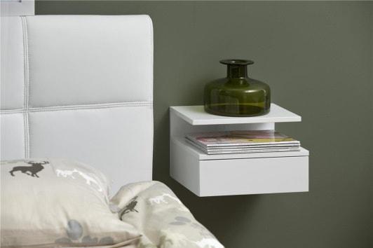 Skandynawska biała szafka nocna podwieszana z szufladą i półką Ashlan Actona