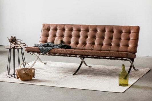 Designerska brązowa sofa pikowana skórzana Barcelona 3