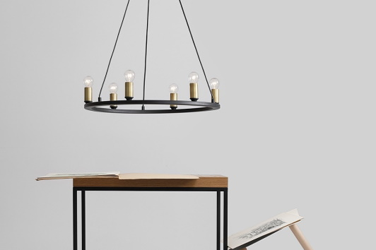 Czarna lampa wisząca vintage Asti 56 Aldex