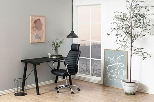 Czarny fotel komputerowy z zagłówkiem Earth Actona