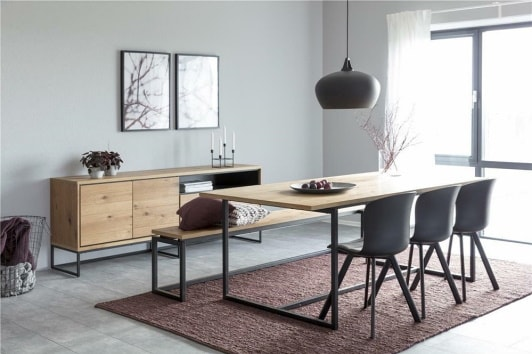Industrialna dębowa ławka na metalowej podstawie do stołu i przedpokoju Dalarna Actona