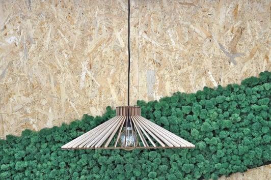 Skandynawska lampa ze sklejki wisząca Nonla 50 PLYstudio