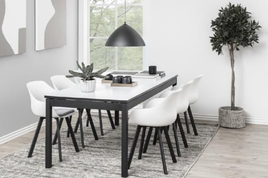 Designerski biało-czarny stół rozkładany Mosel 215 Actona