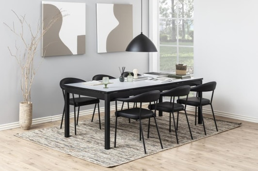 Designerskie czarne krzesło z ekoskóry z podłokietnikami Ava Actona
