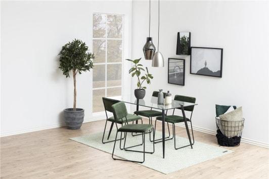 Designerskie zielone krzesło tapicerowane Cornelia Actona