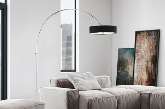 Designerska czarna lampa podłogowa łukowa Prezez Trio