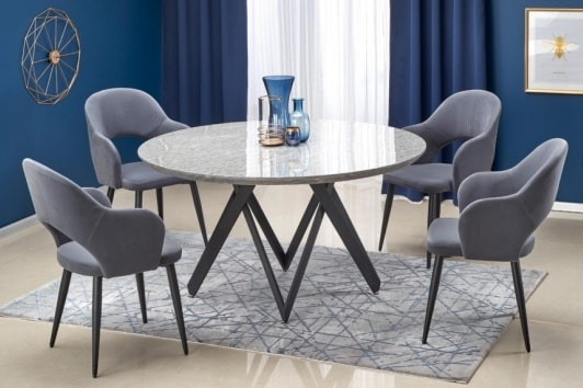 Elegancki stół okrągły z marmurowym blatem i czarną podstawą w stylu glamour Gustimo 140 Halmar