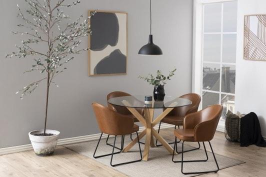 Okrągły szklany stół z przezroczystym blatem i drewnianą podstawą Heaven 199 Actona