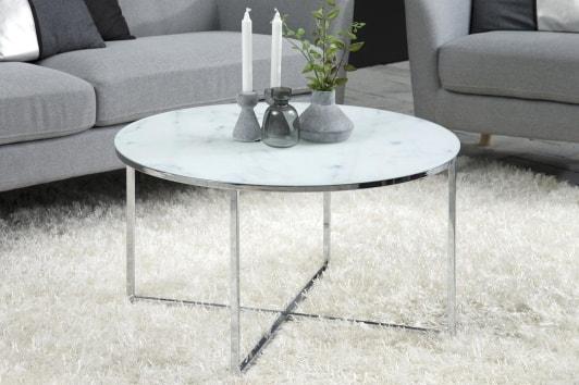 Okrągły stolik kawowy z marmurowym blatem Alisma 80 srebrny Actona