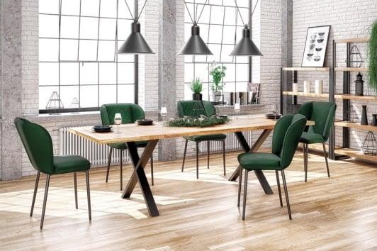 Industrialny stół drewniany z dębowym blatem i czarną podstawą Apex 160 Halmar