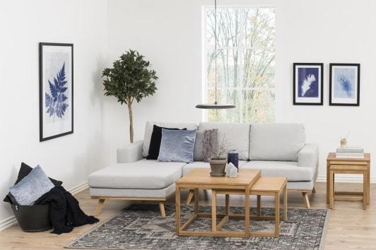 Skandynawska szara sofa narożna 3 osobowa Norwich Actona