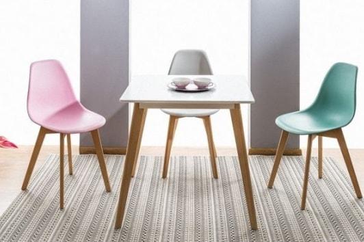 Skandynawski biały stół kwadratowy na drewnianych nogach Declan 80 Signal