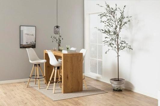 Białe krzesło barowe skandynawskie Dima na drewnianych nogach Actona