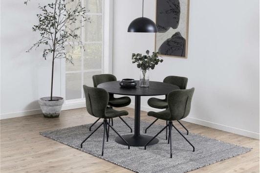 Czarny okrągły stół fornirowany Ibiza 110 na jednej nodze