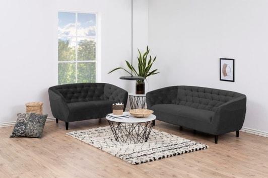 Szara pikowana sofa 2 osobowa Ria Vic 150 Actona