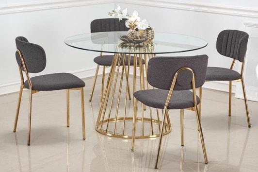 Tapicerowane szare krzesło ze złotymi nogami K362 Halmar