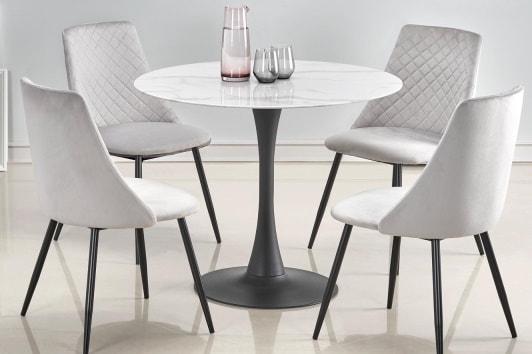 Stylowe szare krzesło pikowane welurowe K405 na czarnej podstawie Halmar