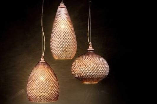 Szklana lampa miedziana wisząca Cono w stylu orientalnym