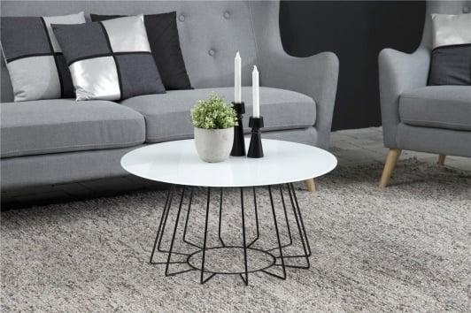 Czarno-biały nowoczesny stolik kawowy okrągły ze szklanym blatem Casia 80 Actona